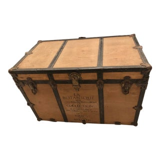 19th Century Antique Wood and Leather Chest Trunk or Coffee Table For Sale