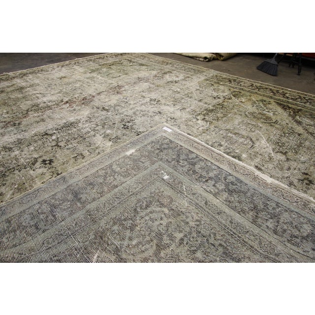 76819 Distressed Antique Persian Mahal Rug with Modern Industrial Style. This distressed antique Persian Mahal rug...