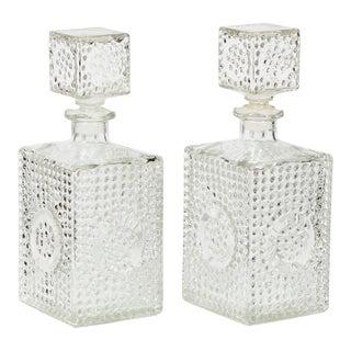 1960s Liquor Square Glass Decanters, Pair For Sale