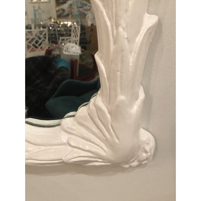 Vintage White Lacquered Palm Frond Wall Mirror For Sale In West Palm - Image 6 of 11