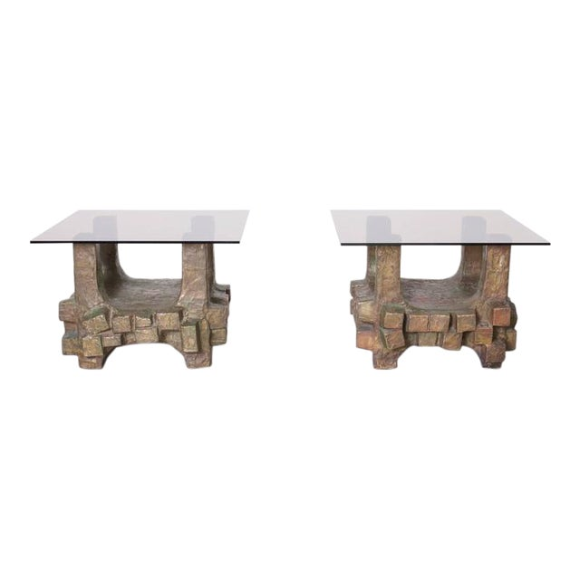 Unique Pair of Brutalist Bronze Side Tables in the Manner of Paul Evans For Sale