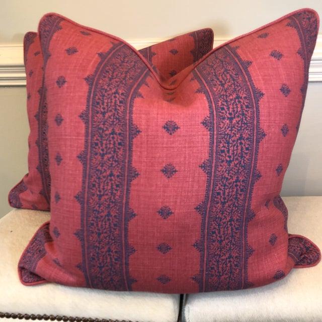 "Boho Chic Linen Stripe 22"" Pillows - A Pair - Image 6 of 7"