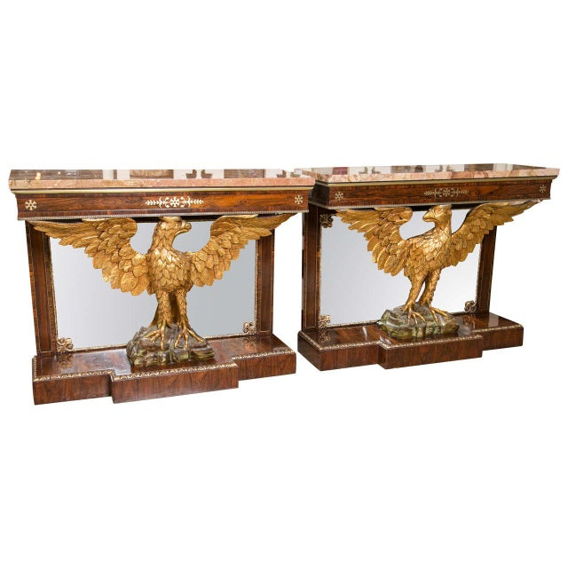 Gilt Opposing Eagle Console Tables - Pair For Sale