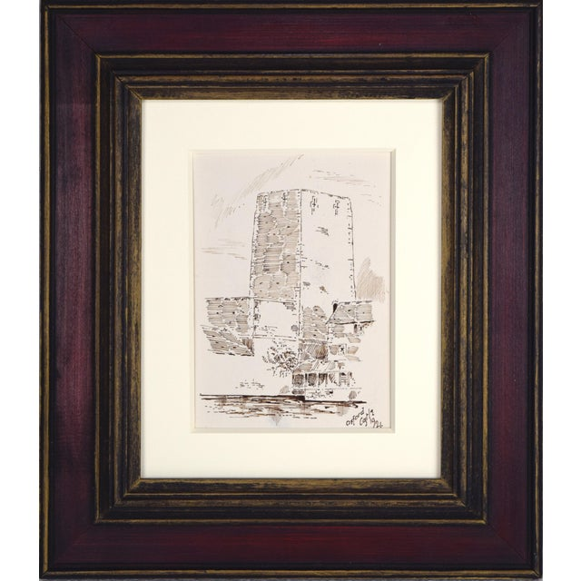 """Antique English Pen & Ink Drawing """"Oxford Castle"""" of St George's Tower For Sale"""