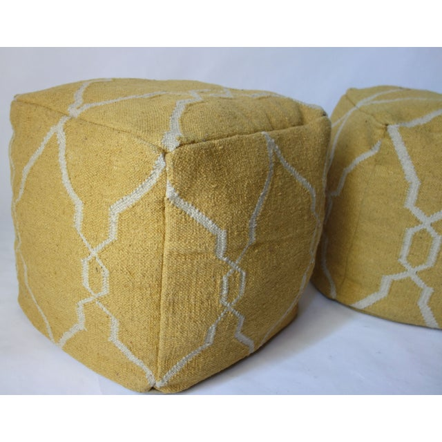 Yellow Dhurrie Poufs -Pair For Sale - Image 4 of 5