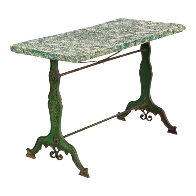 Late 1800s French Concrete Top Garden Table with Cast Iron Base - Image 1 of 11