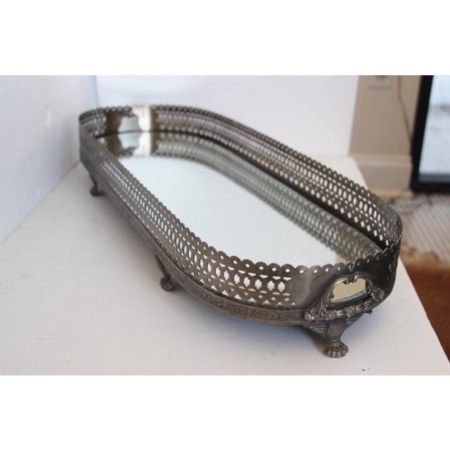 Mirrored Pewter Gallery Tray For Sale - Image 5 of 6