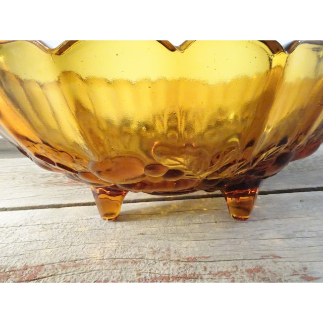 Vintage Amber Pressed Glass Bowl - Image 10 of 11