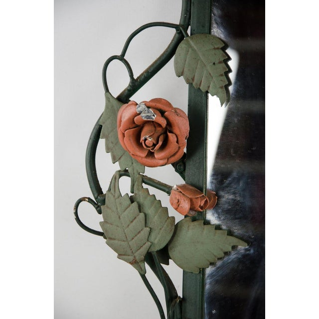Bottle Green Mid-century Italian Toleware Rose Wall Mirror For Sale - Image 8 of 13