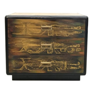 Bernhard Rohne for Mastercraft Etched Brass and Black Lacquer Chest For Sale