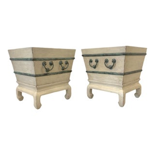 Pair of Chinese Rice Bucket Wine Cooler Planters on Pagoda Stands For Sale