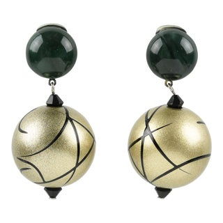 Angela Caputi Dangling Resin Clip on Earrings Dark Green and Pale Gold Ball For Sale