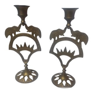 Elephant Motif Brass Candle Holders - A Pair