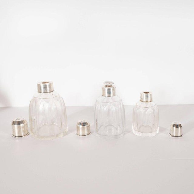 Metal Art Deco Skyscraper Style Sterling Silver & Geometric Beveled Glass Perfume Set For Sale - Image 7 of 9