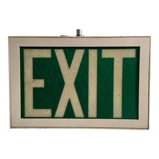 "Mid-Century Iluminated Fiberglass ""Exit"" Sign For Sale"