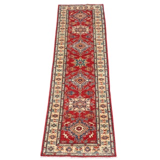 "Traditional Kazak Design Wool Hand-Knotted Runner - 9'5""x2'8"""