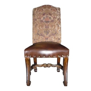 Tuscan Distressed Walnut Small Side Chair with Leather Seat For Sale