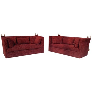 Knole Wine Brocade Upholstered Sofas - a Pair