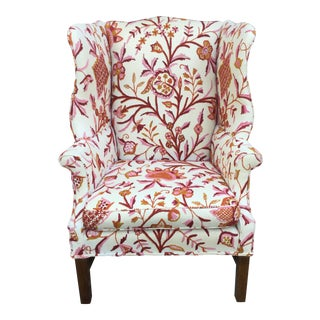 Vintage English Armchair W/Crewel For Sale
