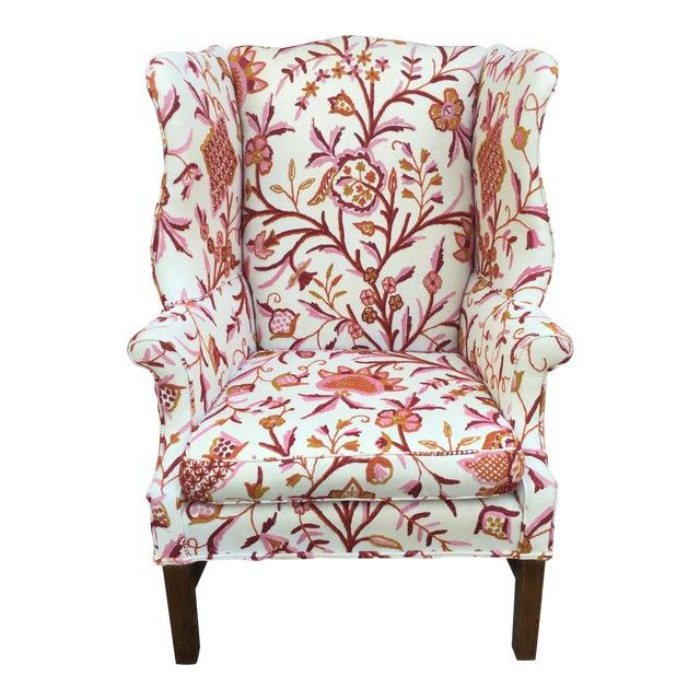 Vintage English Armchair W/Crewel For Sale