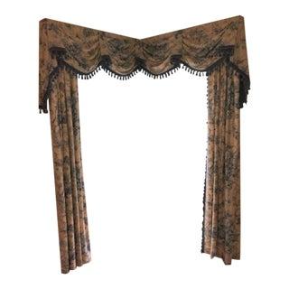Traditional Drape Valance Fabric Corner Window