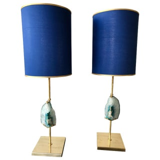 Contemporary Pair of Brass Lamps Blue Agate Stone For Sale