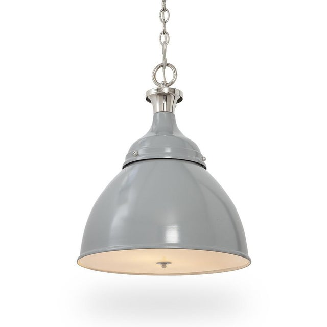Ann Morris Lighting Rover pendant in painted Grey (color RAL 7045 Telegrey) with a high gloss finish, and polished nickel...