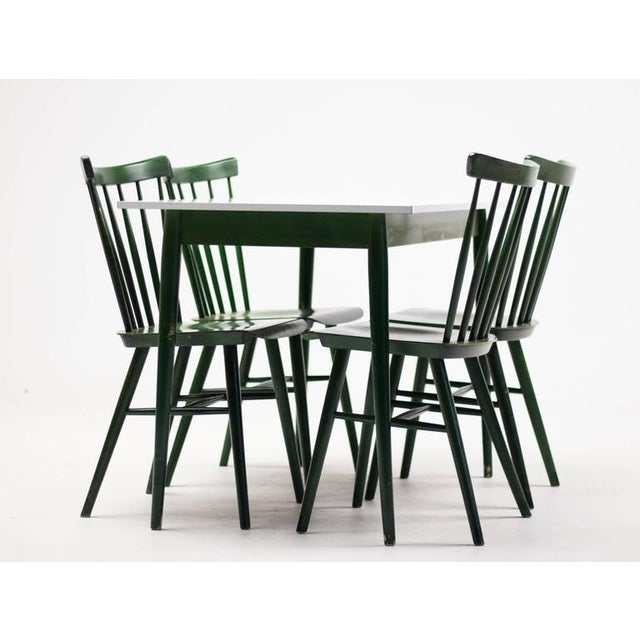 Green Set of Four Ilmari Tapiovaara Spindle Back Chairs and Table For Sale - Image 8 of 9