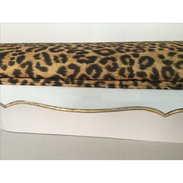 Leopard Hollywood Regency Style Bench - Image 4 of 4