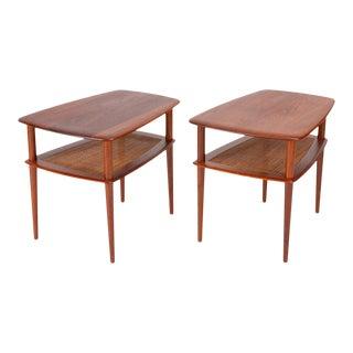 Pair of Teak Side Tables With Cane Shelf by Hvidt & Molgaard for France & Daverkosen For Sale