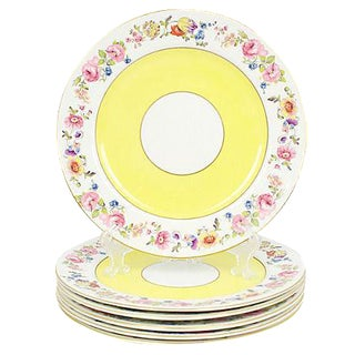 English Hanley Porcelain Dinner Plates, S/6 For Sale