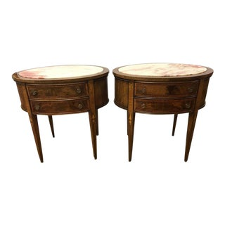 French Mahogany Oval Marble-Top Nightstands End Tables - A Pair