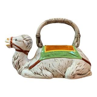 Vintage Italian Ceramic Majolica Camel Pitcher / Vase For Sale