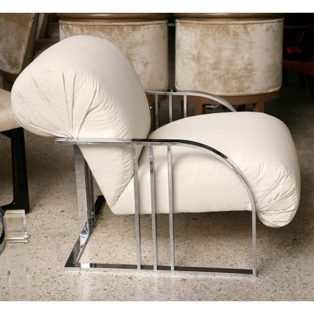 Mid-Century Modern Pair of Chrome Armchairs by Milo Baughman for Thayer Coggin For Sale - Image 3 of 9