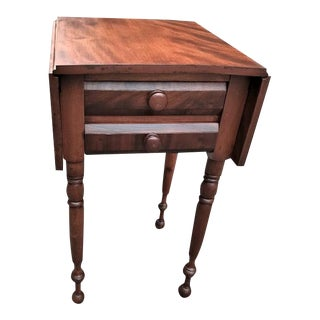 Antique Sheraton Flame Birch 2 Drawer Stand For Sale