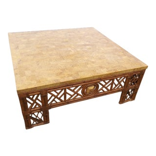1980s Chinese Chippendale Fretwork Rattan Coffee Table For Sale