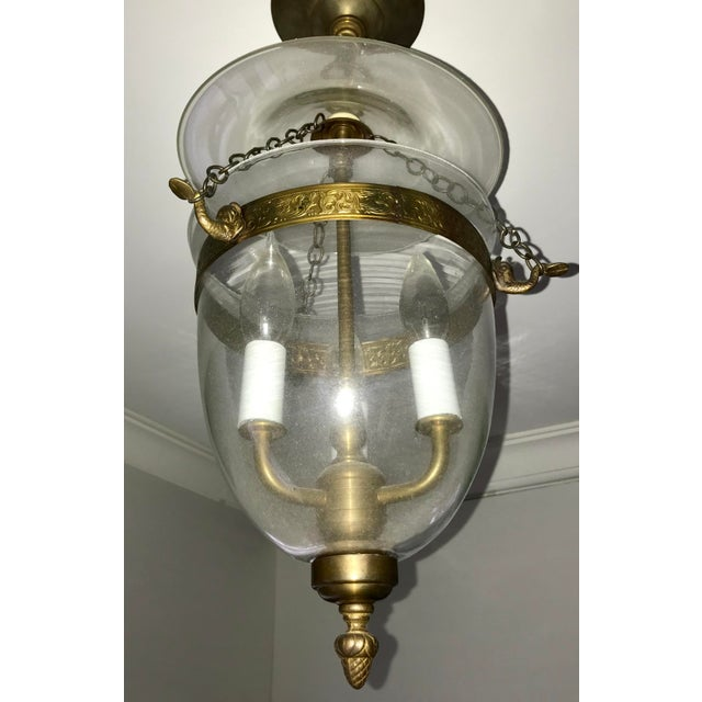 Set of 3, Clear Glass and Brass Bell Jar, Three Candle, Light Fixture For Sale - Image 9 of 12