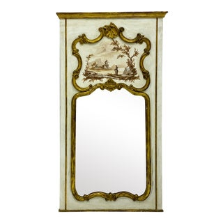 1960s Italian Giltwood Trumeau Mirror by P.DeLuca For Sale