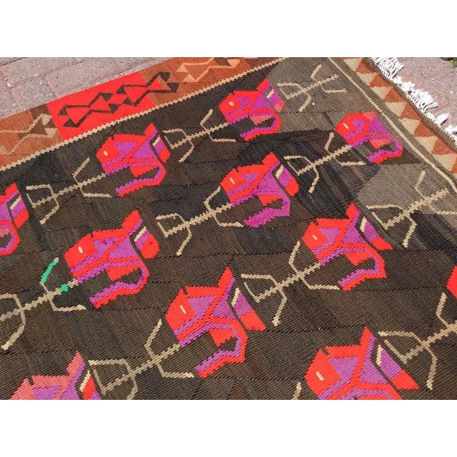 Textile Vintage Floral Kilim Rug For Sale - Image 7 of 11