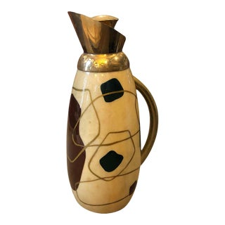 1960s Italian Mid-Century Modern Aldo Tura Painted Wood and Brass Thermos Carafe For Sale