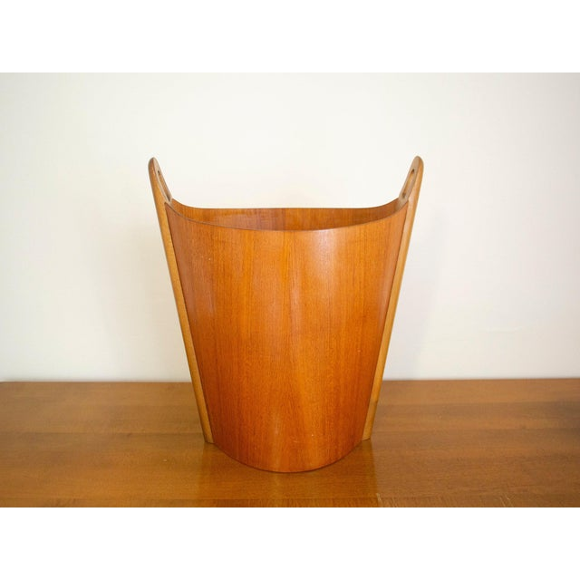 1960s Vintage P.S. Heggen Norway Teak Wastebasket For Sale - Image 11 of 11