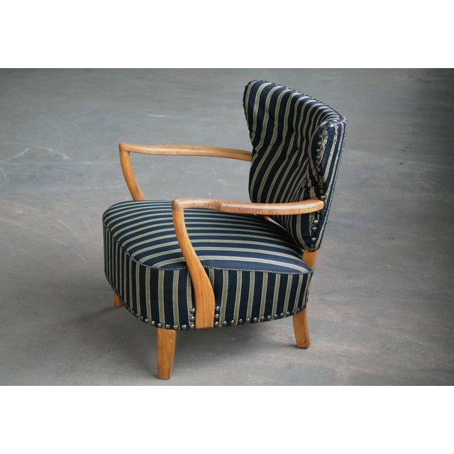Otto Schulz Style Lounge Chair in Oak with Brass Tacks Danish Mid-Century For Sale - Image 10 of 11