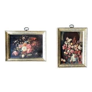 Vintage Florentine Floral Wall Art Plaques- a Pair For Sale