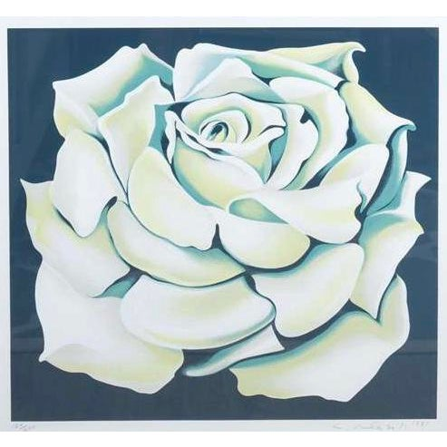 1980s 1980's Limited Edition White Rose Lithograph in Custom Frame by Lowell Nesbitt For Sale - Image 5 of 10