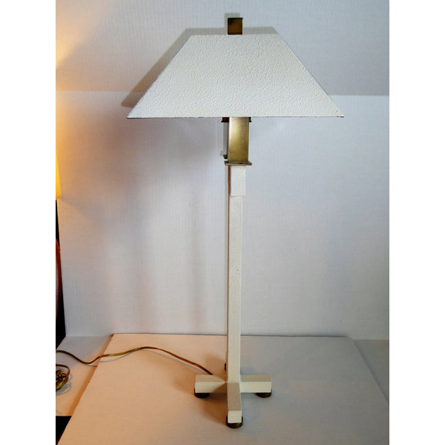 Hart Associates Hart Associates Postmodern Bouillotte Lamp With Painted Brass Metal Shade 1970s. For Sale - Image 4 of 11