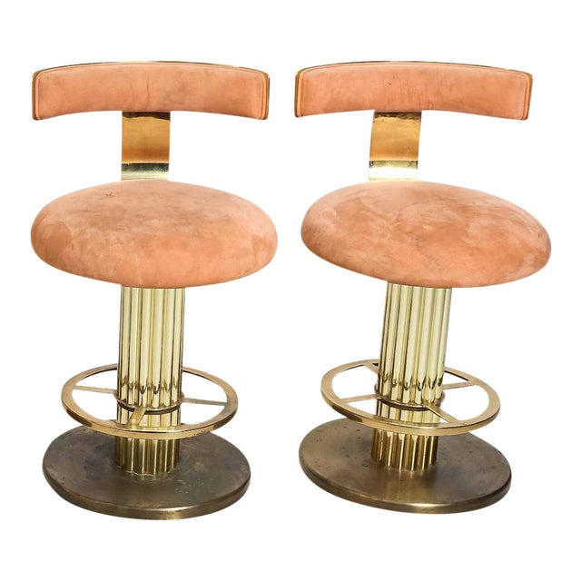 Design for Leisure Art Deco Revival Brass Counter Stools - a Pair For Sale