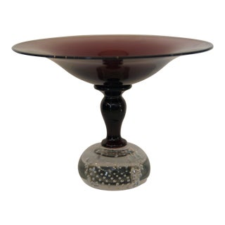Contemporary Amethyst Art Glass Compote For Sale