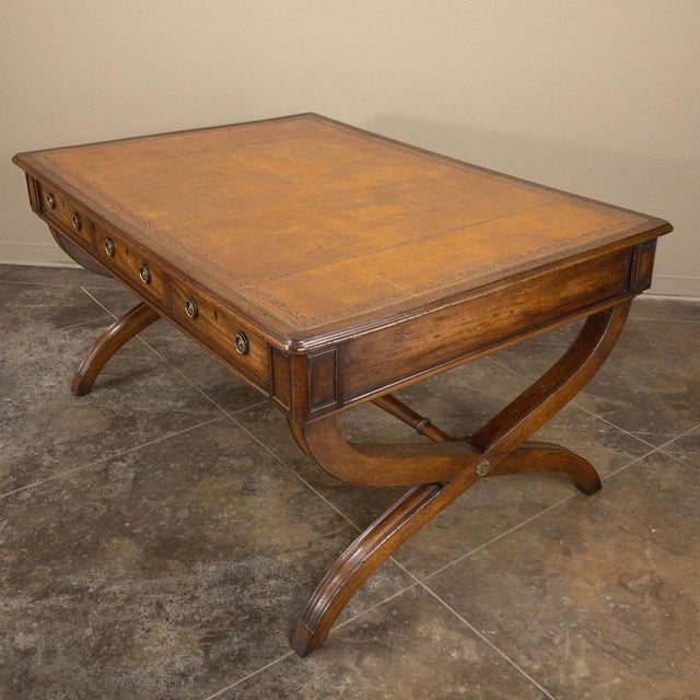 19th Century English Mahogany Leather Top Desk For Sale - Image 4 of 13