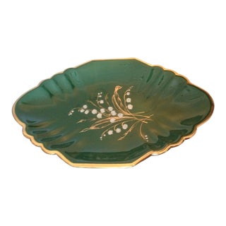 Antique Majolica Footed Platter Dish Floral Emerald Green Porcelain Egisto Fantechi For Sale