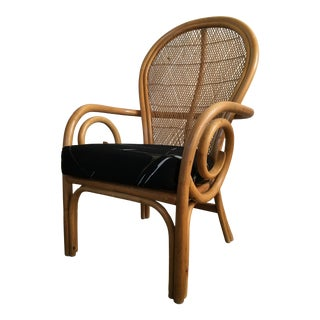 Vintage Mid Century Modern Bamboo Rattan Accent Chair. For Sale